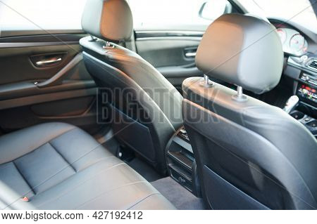 Cabin Of Modern Car With Leather