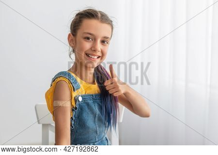Teen Patient Showing Vaccinated Arm After Antiviral Injection, Like Gesture