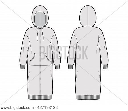 Dress Zip-up Hoody Technical Fashion Illustration With Long Sleeves, Kangaroo Pouch, Rib Cuff Oversi