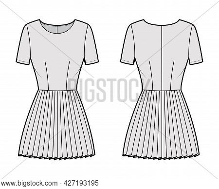 Dress Pleated Technical Fashion Illustration With Short Sleeves, Fitted Body, Mini Length Skirt. Fla