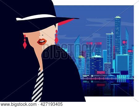 Fashion Girl In Pop Art Style In New York City. Vector Illustration.