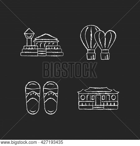 National Taiwanese Chalk White Icons Set On Dark Background. Longshan Temple. Taiwanese Slippers. Tr
