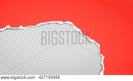 Torn, Ripped Red Paper Strip With Soft Shadow Is On White Squared Background For Text. Vector Illust