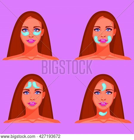 Options For Using Hydrogel Patches For The Eyes. Cosmetic Collagen Patches For The Eyes. Blue Eye Pa