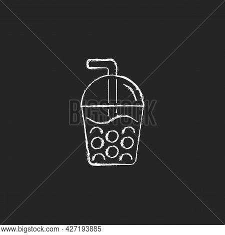 Bubble Tea Chalk White Icon On Dark Background. Black Tea With Milk, Ice And Chewy Tapioca Pearls. B