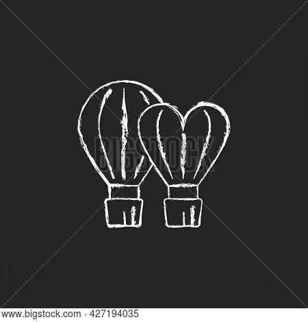 Taiwan International Balloon Festival Chalk White Icon On Dark Background. Flight Technology. Hot Ai
