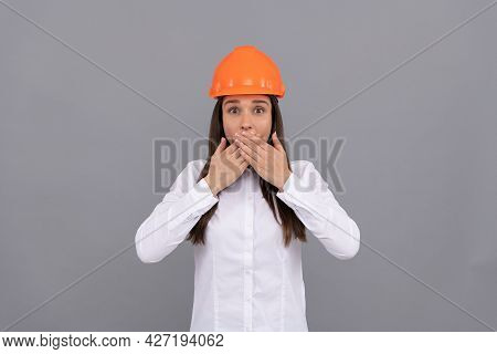 Surprised Woman In Protective Helmet And White Shirt Close Amazed Face, Amazement
