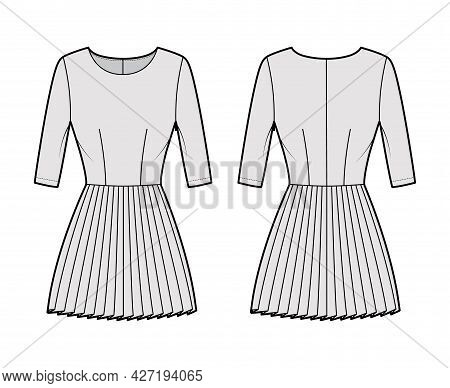 Dress Pleated Technical Fashion Illustration With Elbow Sleeves, Fitted Body, Mini Length Skirt. Fla