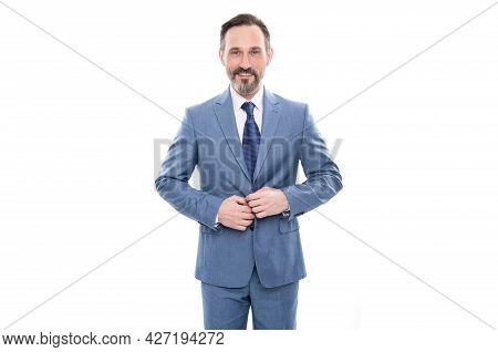 Grizzled Businessman Button Up Jacket. Business Success. Happy Man In Businesslike Suit