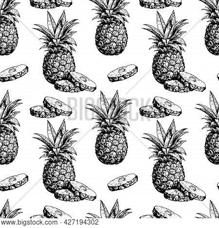 Hand Drawn Pineapple Vekor Seamless Pattern, Sketch Of A Pineapple Whole And Pieces, Black And White