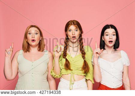 Astonished Body Positive Women Having Idea Isolated On Pink