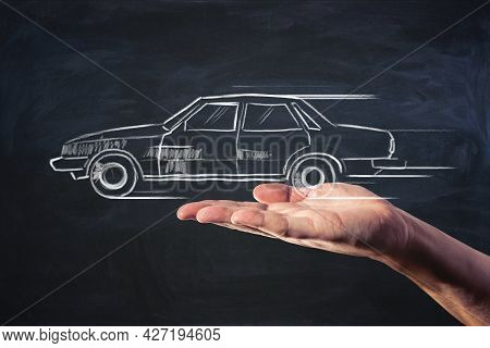 Car Booking And Car Sharing Service Concept With Handwritten Automobile On Man Palm With Dark Backgr