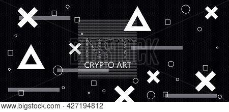 Creative Dark Crypto Art Backdrop. Non-fungible Token Concept. 3d Rendering