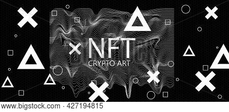 Nft Non-fungible Tokens Concept With Nft Crypto Art Letters On Abstract Dark Background With Crosses