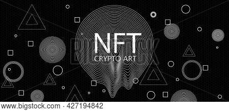 Creative Dark Crypto Art Texture. Non-fungible Token Concept. 3d Rendering