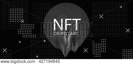 Non-fungible Tokens Concept With Nft Crypto Art Inscription On Black Wallpaper With White Dots. 3d R