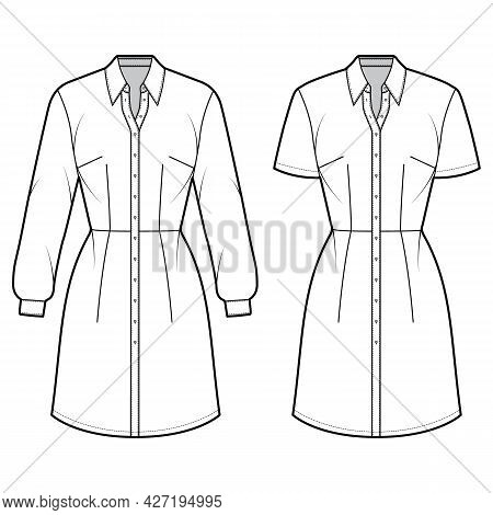 Set Of Dresses Shirt Technical Fashion Illustration With Long Short Sleeves, Fitted Body, Knee Lengt