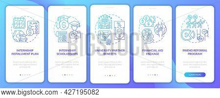 Traineeship Program Financing Onboarding Mobile App Page Screen. University Partner Walkthrough 5 St
