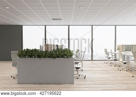 Light Concrete Coworking Office Interior With Furniture, Window With City View And Daylight. Corpora
