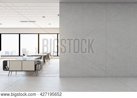 Contemporary Concrete Coworking Office Interior With Daylight, Empty Mockup Place On Wall, Furniture