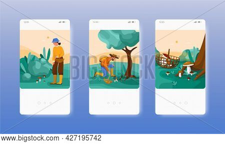 People Picking Mushrooms In Forest. Mobile App Screens, Vector Website Banner Template. Ui, Web Site