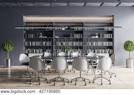 Modern Meeting Room Interior With Furniture, Bookcase. Corporate Workplace Concept. 3d Rendering