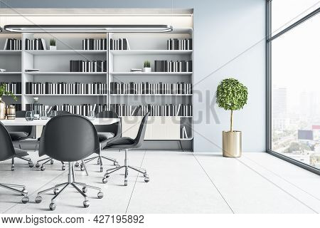 Modern Meeting Room Interior With Furniture, Bookcase And City View. Corporate Workplace Concept. 3d