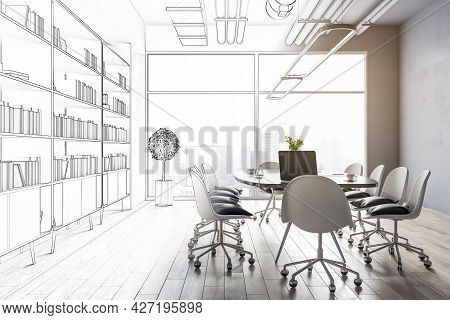 Creative Office Interior Sketch. Repairs, Refurbishment, Before And After Concept. 3d Rendering