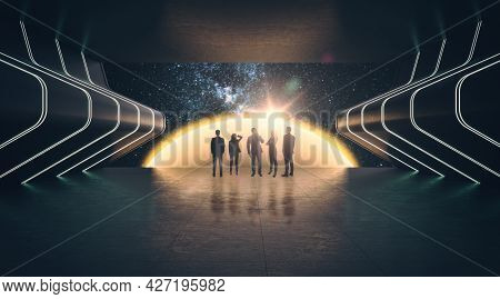 Group Of Businesspeople In Abstract Cosmos Exhibition In Dark Futuristic Interior. Gallery Concept