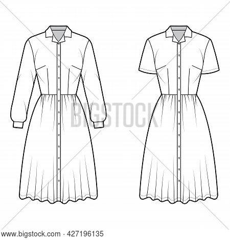 Set Of Dresses Shirt Technical Fashion Illustration With Short Long Sleeves, Camp Collar, Knee Lengt