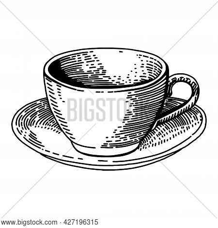 Sketch Ink Graphic Cup Of Coffee Illustration, Draft Silhouette Drawing, Black On White Vector Illus