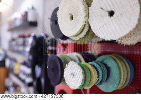 Samples Of Foam Polishing Discs For Polishing Machine Closeup