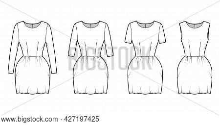 Set Of Dresses Bell Technical Fashion Illustration With Long Elbow Short Sleeve Sleeveless, Fitted B