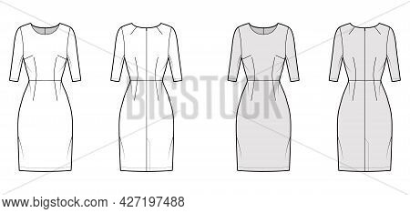 Dress Sheath Technical Fashion Illustration With Natural Waistline, Elbow Sleeves, Fitted Body, Knee