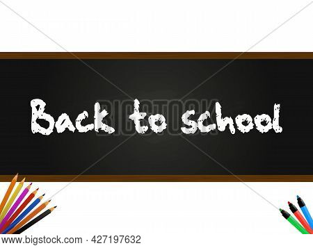 Back To School Decorative Text Over Black Board Panel With Top And Bottom Wooden Frame On White Back