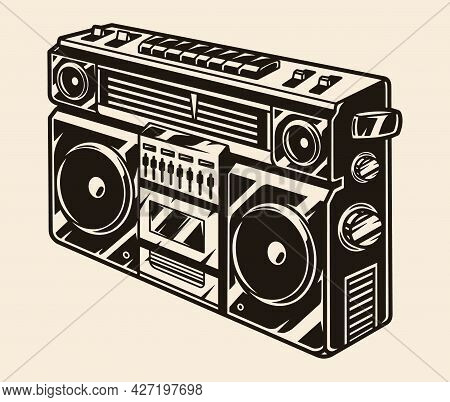 Retro Cassette Stereo Recorder Concept In Vintage Monochrome Style Isolated Vector Illustration