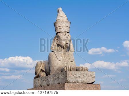 Sphinx Statue On University Embankment, Saint Petersburg, Russia