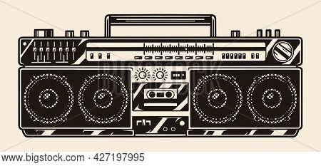 Retro Portable Tape Recorder With Radio Receiver In Vintage Monochrome Style Isolated Vector Illustr