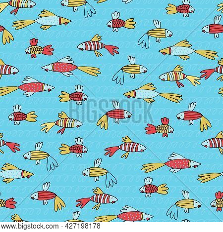 Seamless Pattern With Fantasy Tropical Fish In Cartoon Style. Wallpaper, Backgound For Kids