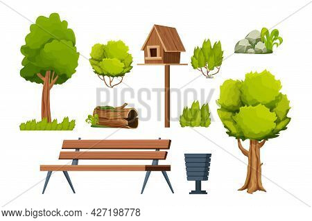 Park Set Of Elements, Wooden Bench, Trees, Bush, Stone With Moss, Old Log, Birdhouse, Bin In Cartoon