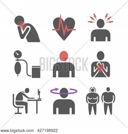 Hypertension. Symptoms, Treatment. Flat Icons Set. Vector Signs For Web Graphics.