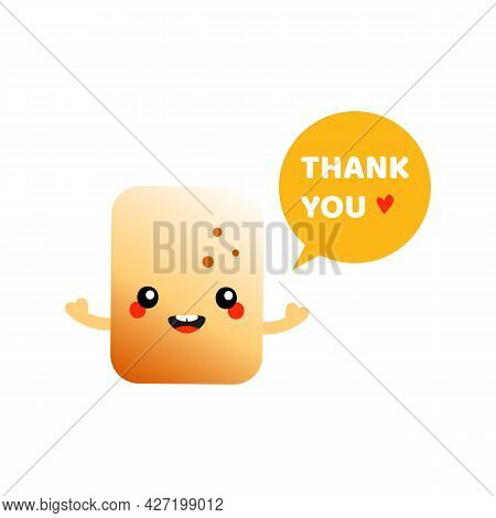 Cute Smiling Cartoon Style Golden Brown Toasted Marshmallow Character With Speech Bubble Saying Than