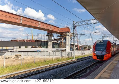 Road Junction Under Construction In North-east Khorda. Russia, Moscow, Rostokino Railway Platform -
