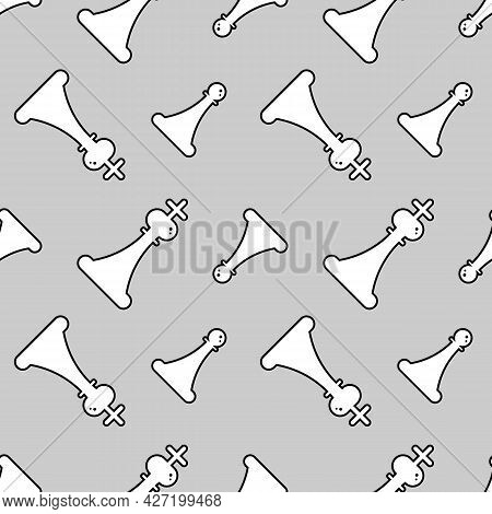 Outlined White Chess King And Pawn Figures, Silhouettes Vector Seamless Pattern Background.