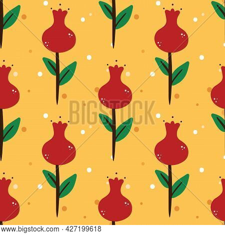 Cute Cartoon Style Red Flowers And Dots Vector Seamless Pattern Background.