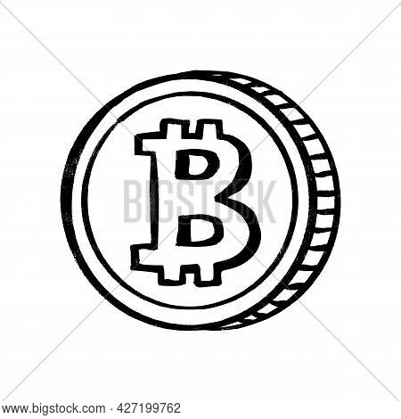Bitcoin Cryptocurrency Vector Sketch Icon. Isolated Crypto Money Sign. Blockchain Technology Doodle