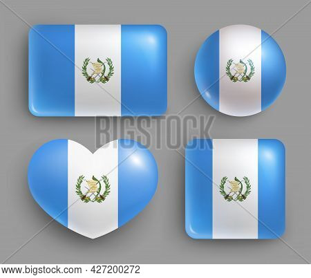 Set Of Glossy Buttons With Guatemala Country Flag. Central America Country National Flag, Shiny Geom