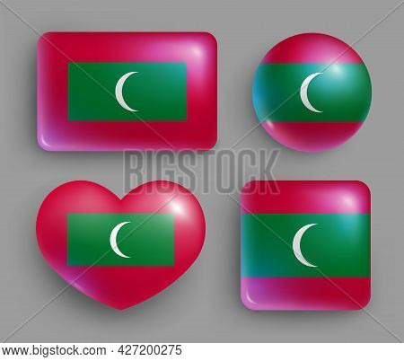 Set Of Glossy Buttons With Maldives Country Flag. South Asia Country National Flag, Shiny Geometric
