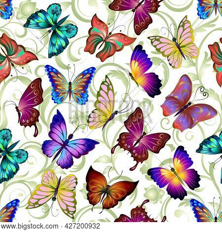 Abstract Background With Colored Butterflies.multicolored Butterflies On An Abstract Background In A