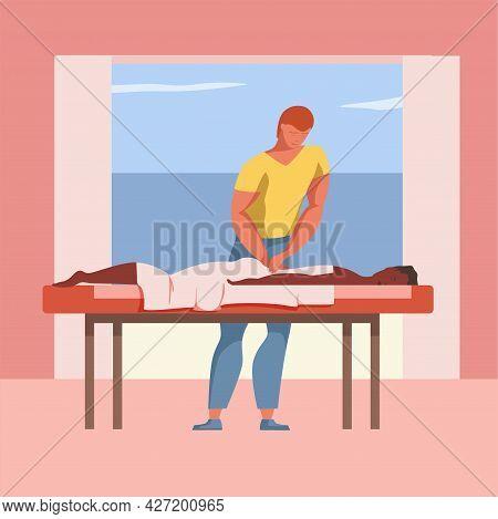 Reiki Treatment Vector Flat Design Illustration. Young Man Doing A Massage.